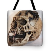 Old Skull With Scorpion On A White Background Tote Bag