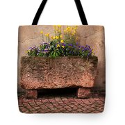Old Stone Trough And Flowers In Alsace France Tote Bag by Greg Matchick
