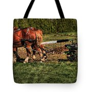Old Time Horse Plowing Tote Bag