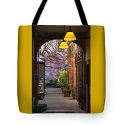 Old Town Courtyard In Victoria British Columbia Tote Bag by Ben and Raisa Gertsberg