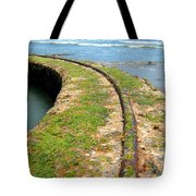Old Tracks By The Ocean Tote Bag