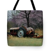 Old Tractor And Redbuds Tote Bag
