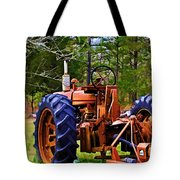 Old Tractor Digital Paint Tote Bag