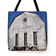 Old Tractor In Front Of Hay Barn Tote Bag