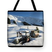 Old Tractor In Winter With Lots Of Snow Waiting For Spring Tote Bag