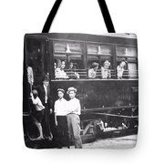 Old Train Station Black And White Tote Bag