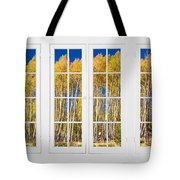 Old Triple16 Pane White Window Colorful Autumn Aspen Forest View Tote Bag