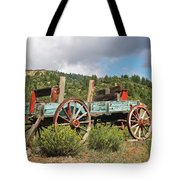 Old Wagon Along The Road Tote Bag