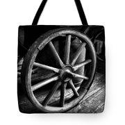 Old Wagon Wheel Black And White Tote Bag