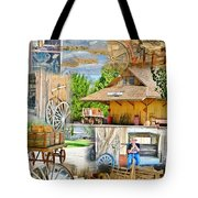 Old West Collage Tote Bag