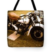 Old White Motorcycle Tote Bag
