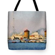 Old Windmills And Cruise Ship Tote Bag