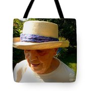 Old Woman Wearing Straw Hat Tote Bag