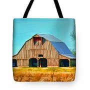 Old Wood Barn  Digital Paint Tote Bag
