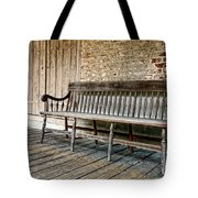 Old Wood Bench Tote Bag