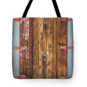 Old Wood Door With Six Red Hinges Tote Bag