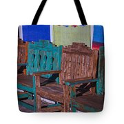 Old Wooden Benches Tote Bag by Garry Gay