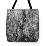 Old Wooden Fence Post In A Field Tote Bag