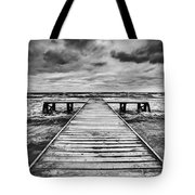 Old Wooden Jetty During Storm On The Sea Tote Bag