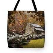 Oliver's Log Cabin During Fall In The Great Smoky Mountains Tote Bag