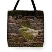 Olympia Ruins And Wild Flowers   #9684 Tote Bag