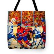 Olympic  Hockey Hopefuls  Painting By Montreal Hockey Artist Carole Spandau Tote Bag