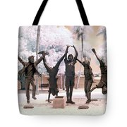 Olympic Wannabes Sculpture By Glenna Goodacre Near Infrared Tote Bag
