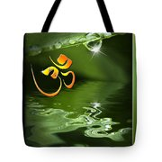 Om On Green With Dew Drop Tote Bag
