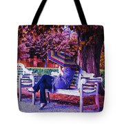 On A Bench Under An Umbrella In Autumn Tote Bag