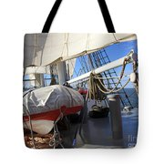 On The Deck Of A Sailing Ship Tote Bag
