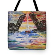 On The Hour. The Sailboat And The Steel Bridge Tote Bag by Andrew J Andropolis