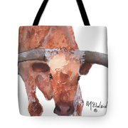 On The Level Texas Longhorn Watercolor Painting By Kmcelwaine Tote Bag
