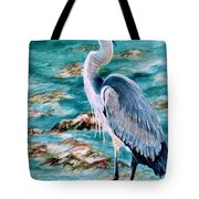 On The Rocks Great Blue Heron Tote Bag by Roxanne Tobaison