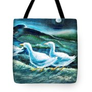 On The Run By Moonlight Tote Bag