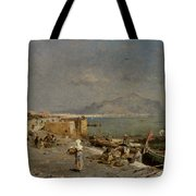 On The Waterfront At Palermo Tote Bag by Franz Richard Unterberger