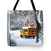 On The Way To School In Winter Tote Bag