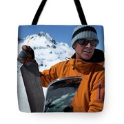One Backcountry Skier Putting Skins Tote Bag