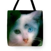 One Blue One Green Cat In New Olreans Tote Bag