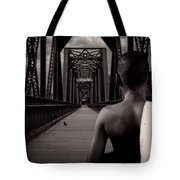 One Boy One Pigeon One Bridge Tote Bag