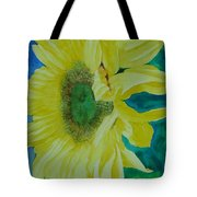 One Bright Sunflower Colorful Original Art Floral Flowers Artist K. Joann Russell Decor Art  Tote Bag