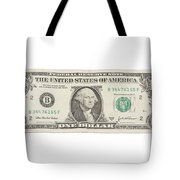 One Dollar Bill On White Background Tote Bag