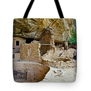 One End Of Spruce Tree House On Chapin Mesa In Mesa Verde National Park-colorado Tote Bag