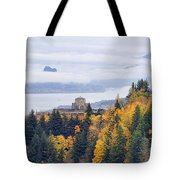 One Foggy Fall Day At Crown Point Tote Bag