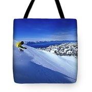 One Man Skiing In Powder High Tote Bag