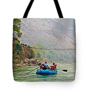 One Of Many Suspension Bridges Crossing The Seti River In Nepal Tote Bag