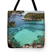 One Step To Paradise - Cala Mitjana Beach In Menorca Is A Turquoise A Cristaline Water Paradise Tote Bag