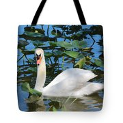 One Swan In The Lilies Tote Bag