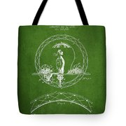 One Wheeled Vehicle Patent Drawing From 1885 - Green Tote Bag
