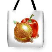 Onion And Red Pepper Tote Bag