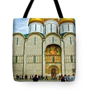 Onion Domes On Cathedral Of The Assumption Inside Kremlin In Moscow-russia Tote Bag